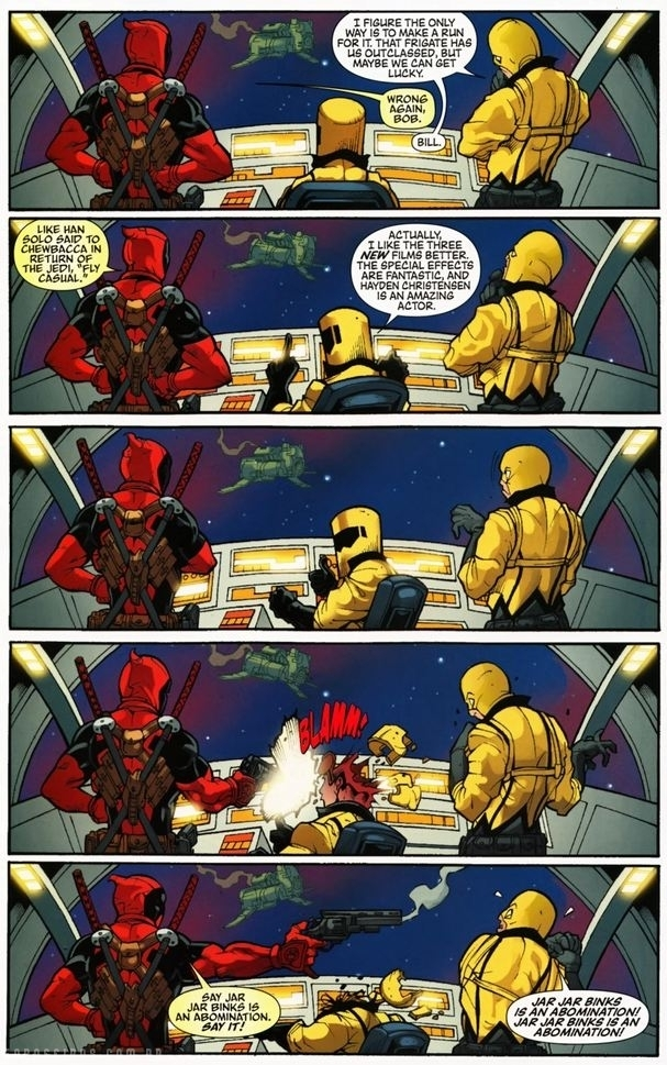 Deadpool sobre Jar Jar Binks