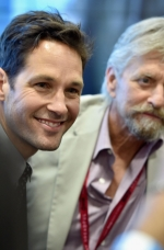 "SAN DIEGO, CA - JULY 26: Actor Paul Rudd (L) and Michael Douglas attend Marvel's ""Ant-Man"" Hall H Panel Booth Signing during Comic-Con International 2014 at San Diego Convention Center on July 26, 2014 in San Diego, California.  (Photo by Alberto E. Rodriguez/Getty Images for Disney) *** Local Caption *** Corey Stoll;Michael Douglas"