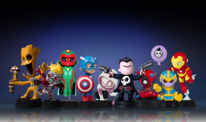 Personagens Marvel da Gentle Giant com traços de Skottie Young