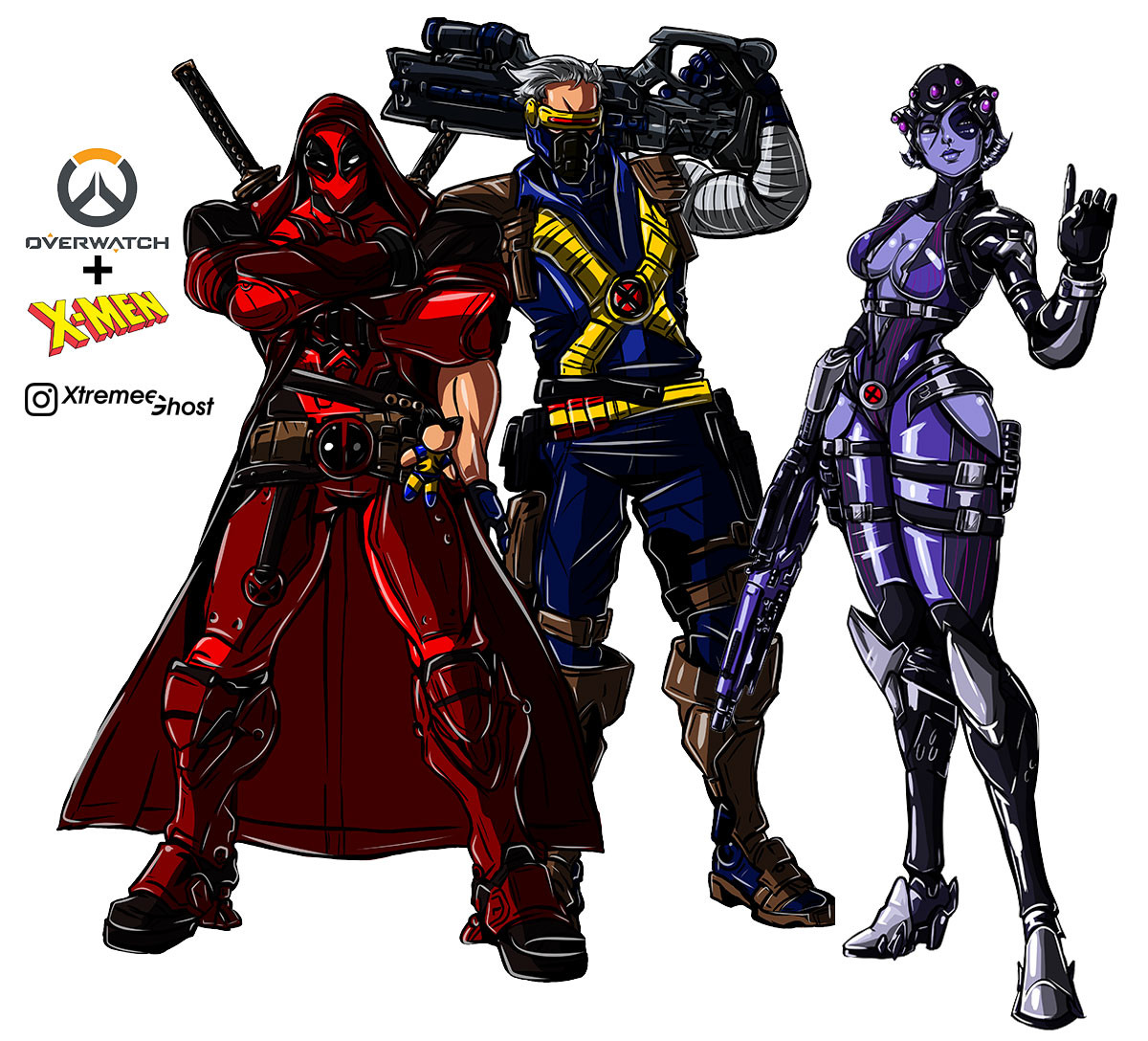 Overwatch com visuais dos X-Men - Reaper, Soldado 76 e Widow Maker