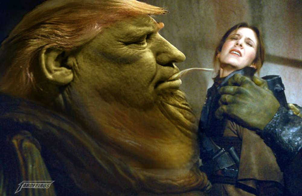 A culpa é do videogame e do cinema - Donald Trump - Jabba The Hutt e Leia