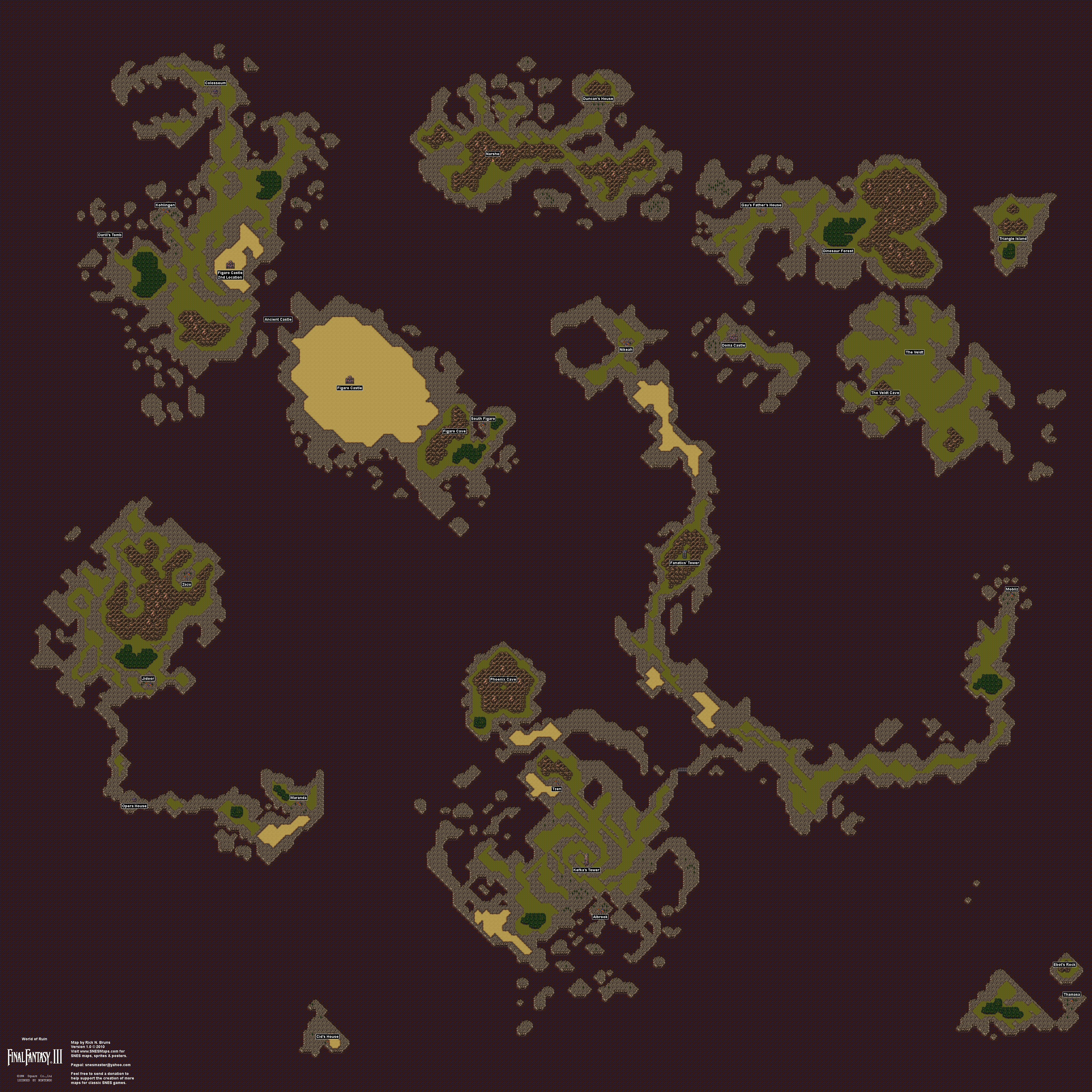 Mapas de mundos da fantasia - Final Fantasy VI - World of Ruin