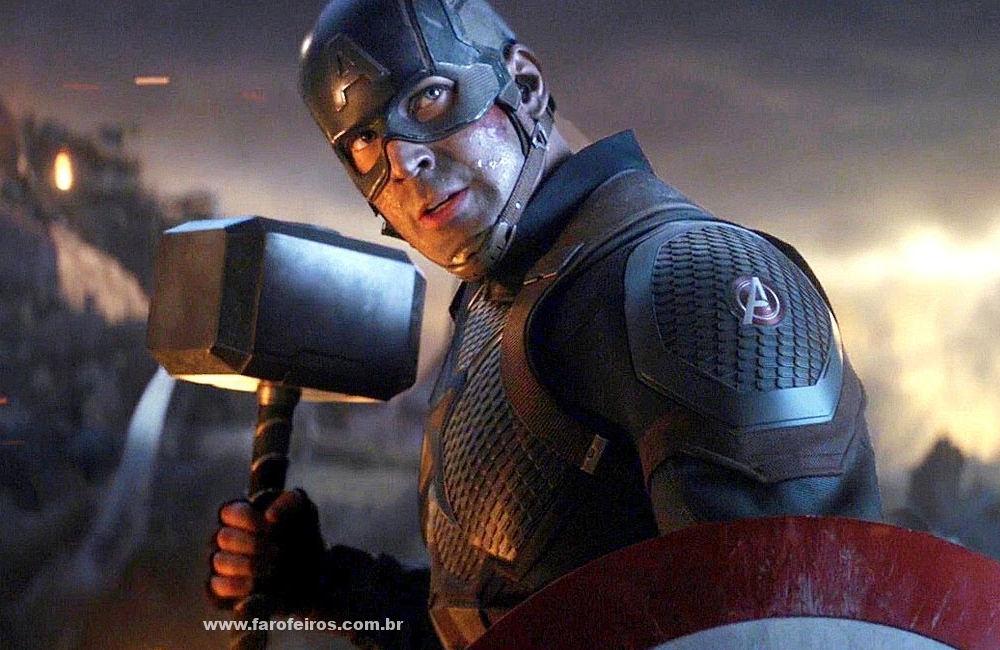 Capitão América com o martelo do Thor - Vingadores - Ultimato - Blog Farofeiros